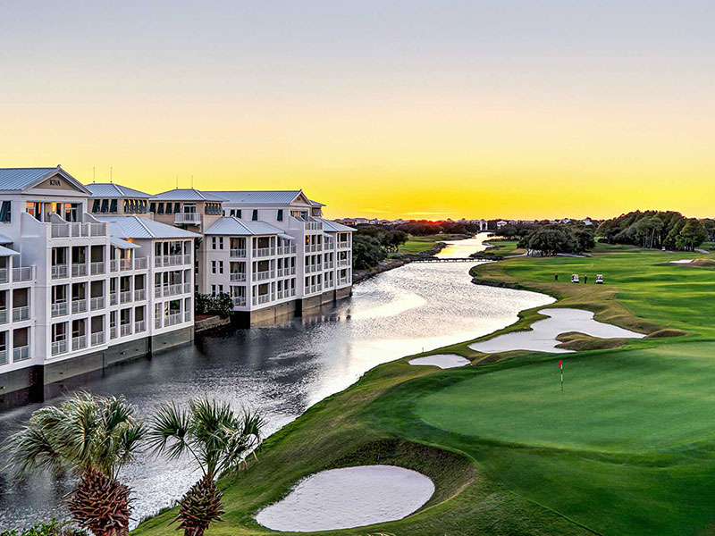 Kiva Village condos over looking the 18th hole of Kiva Dunes golf course