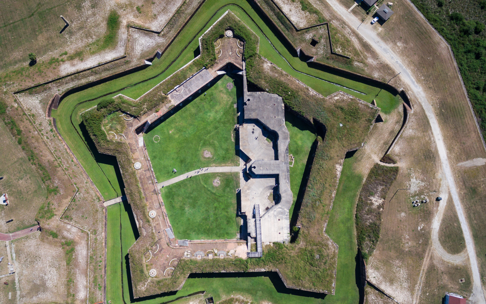 drone photo of fort morgan